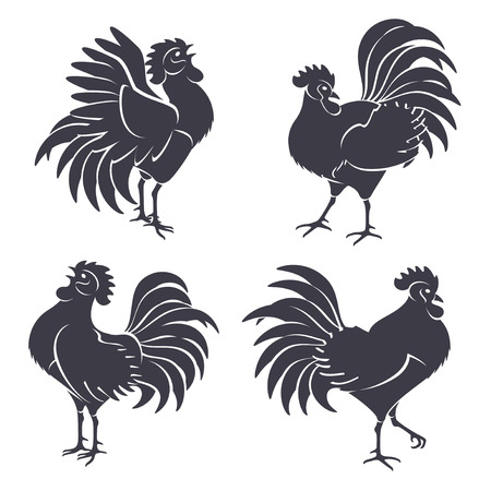 Illustration pour Black Rooster Silhouettes Isolated on White. Vector illustration. Symbols of 2017 Chinese New Year. Crowing Cock. - image libre de droit