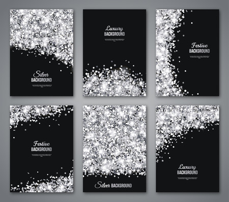 Ilustración de Set of Black and Silver Banners, Greeting Card or Flyers Design. Shiny Dust. Vector Illustration. Happy New Year and Christmas Posters Invitation Template. Place for your Text Message. - Imagen libre de derechos