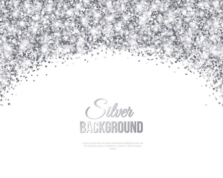 Greeting Card with Silver Confetti Glitter Arch. Vector illustration. Sequins Pattern. Lights and Sparkles. Glowing Holiday Festive Poster. Gift Card, Voucher Design