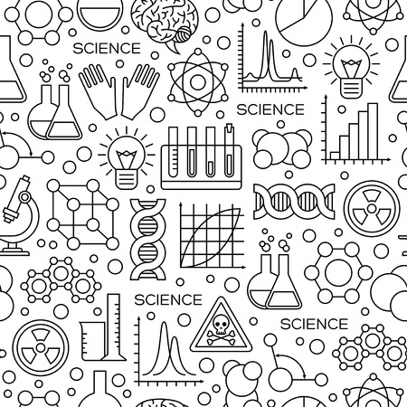 Illustration for Seamless Pattern with Science Line Icons in Modern Style. Vector Illustration. Scientific Research Background with Chemical Experiment Tools. - Royalty Free Image