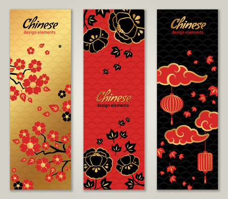 Illustration pour Vertical Banners Set with Chinese New Year Graphic Elements. illustration. Asian Lantern, Clouds and Flowers in Traditional Red and Gold Colors - image libre de droit