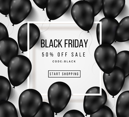 Illustration for Black Friday Sale Poster with Shiny Balloons on White Background with Square Frame. illustration. - Royalty Free Image