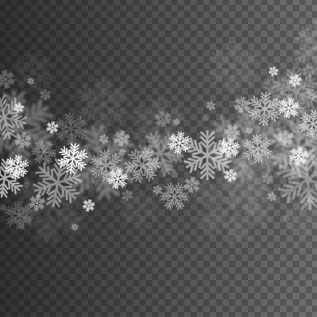 Illustration pour Abstract Snowflakes Overlay Effect on Transparent Background for Christmas and New Year Design. - image libre de droit