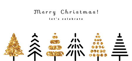 Ilustración de Merry Christmas Background with Gold and Black Fir Trees in Modern Style. Vector Illustration. Glitter Sequins Texture. Season Greetings - Imagen libre de derechos