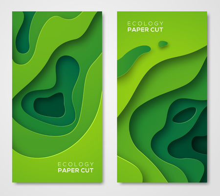 Illustration for Vertical banners set, green paper cut shapes - Royalty Free Image