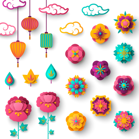 Ilustración de Chinese Decorative Icons Clouds, Flowers and Chinese Lanterns - Imagen libre de derechos