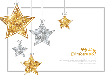 Illustration pour Frame with Silver and Gold Hanging Stars - image libre de droit