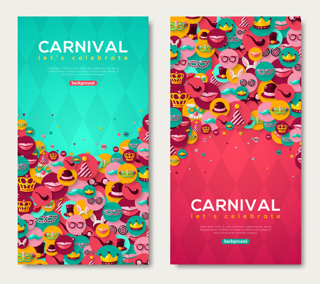 Illustration pour Carnival Vertical Banners Set With Flat Icons in Circles on Pink and Blue Textured Backdrop. Vector illustration. Masquerade Ball Concept. Poster, flyer or invitation design, Funfair funny tickets. - image libre de droit
