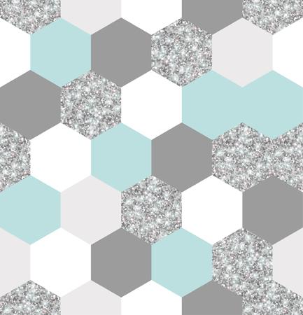 Ilustración de Silver, mint and white hexagon grid texture. - Imagen libre de derechos