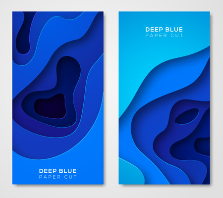 Illustration pour Vertical banners with abstract blue background - image libre de droit