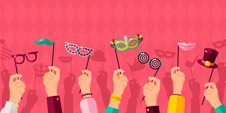 Illustration for Carnival banner with hands holding carnival masks vector illustration - Royalty Free Image
