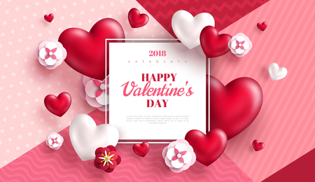Illustration for Valentine's day concept background. Vector illustration. 3d red hearts and paper cut flowers with white square frame. Cute love sale banner or greeting card - Royalty Free Image