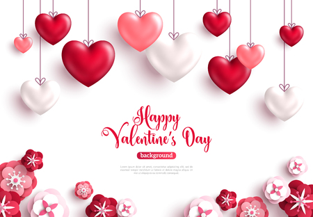 Illustration pour Happy saint valentine's day background with decoration hearts and paper cut rose flowers. Vector illustration. - image libre de droit