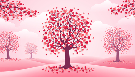 Illustration pour Happy Valentine's Day trees with heart shape leaves, pink landscape with clouds and hills. Vector illustration. Holiday design for greeting card, concept, gift voucher, invitation. Love growth - image libre de droit