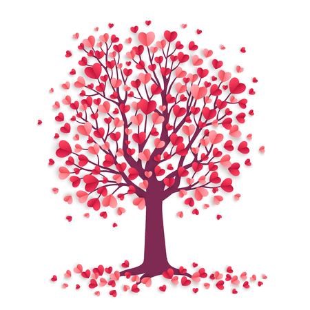 Ilustración de Valentine tree with hearts - Imagen libre de derechos