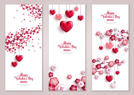 Illustration pour Valentines vertical banners, tree with hearts. - image libre de droit