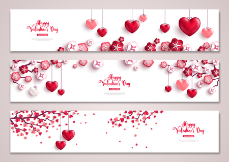 Illustration pour Valentine's day horizontal banners, tree with hearts. - image libre de droit
