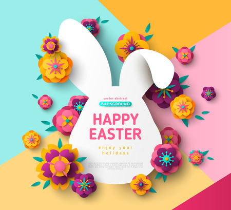 Ilustración de Easter card with bunny rabbit frame - Imagen libre de derechos