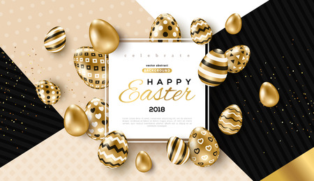 Illustration for Easter card with frame and gold ornate eggs - Royalty Free Image