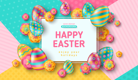Illustration for Easter card with square frame and ornate eggs - Royalty Free Image