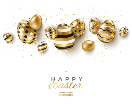 Illustration pour Easter horizontal border with gold ornate eggs and confetti on white background. Vector illustration. Place for your text. - image libre de droit