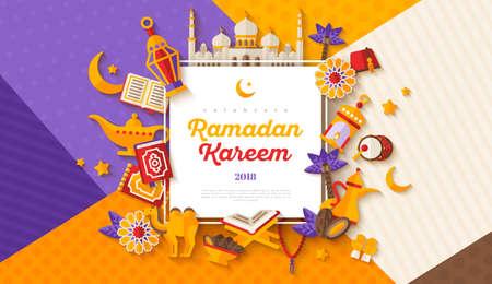 Ilustración de Ramadan Kareem concept horizontal banner with flat sticker icons on modern geometric background. Vector illustration. Eid Mubarak. Quran, Traditional Lanterns, Iftar food dates - Imagen libre de derechos