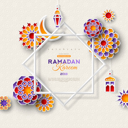 Illustration for Ramadan Kareem concept banner with islamic geometric patterns and eight pointed star frame. Paper cut 3d flowers, traditional lanterns, moon and stars on light background. Vector illustration. - Royalty Free Image