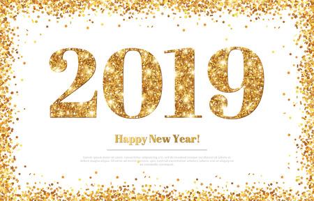 Ilustración de Happy New Year 2019 Greeting Card - Imagen libre de derechos