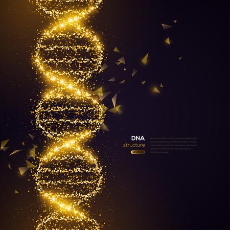 Illustration pour Gold DNA on Black Background - image libre de droit