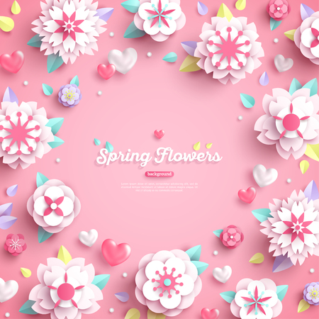Illustration pour Banner with place for text and 3d white paper cut spring flowers on pink background. Vector illustration. - image libre de droit