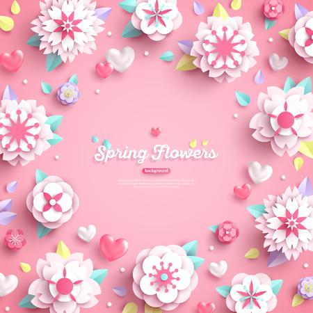 Ilustración de Banner with place for text and 3d white paper cut spring flowers on pink background. Vector illustration. - Imagen libre de derechos