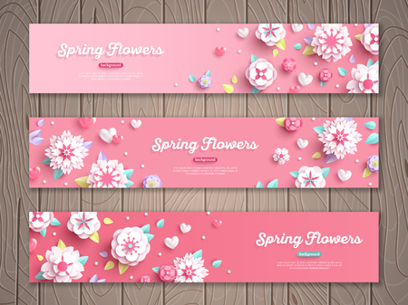 Illustration pour Set of pink horizontal banners on wooden background with white paper cut flowers. Vector illustration. - image libre de droit