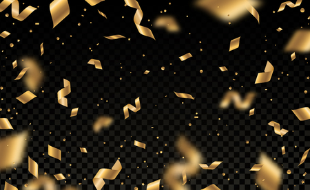Ilustración de Falling shiny golden confetti and pieces of serpentine isolated on black transparent background. Bright festive overlay effect with gold tinsels. Vector illustration. - Imagen libre de derechos