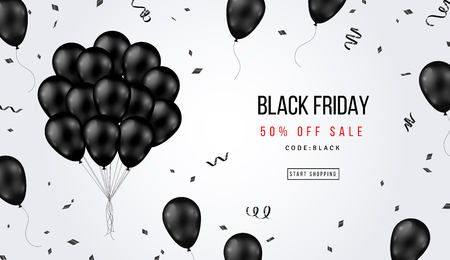 Illustration for Black Friday Sale Banner with Shiny Balloons Bunch and Confetti on White Background. Vector illustration. - Royalty Free Image