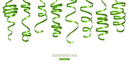 Ilustración de Green serpentine isolated on white background. Vector illustration. Shiny ribbons set for holiday design - Imagen libre de derechos