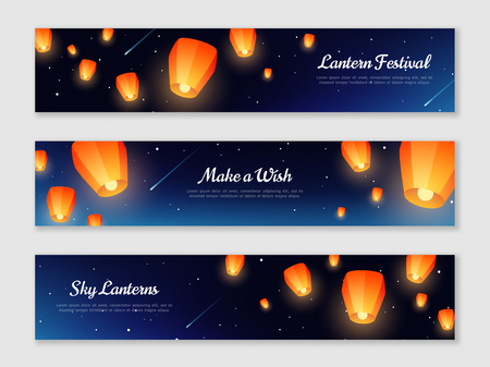 Ilustración de Horizontal banners set with orange paper lanterns floating in night sky. Vector illustration. Traditional design elements for Chinese New Year or Mid Autumn Festival. - Imagen libre de derechos