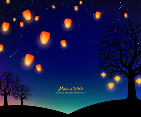 Ilustración de Landscape with trees and lanterns floating at night. Starry sky with meteors. Vector illustration. Traditional background for Chinese New Year or Mid Autumn Festival. - Imagen libre de derechos