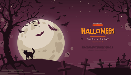 Ilustración de Halloween Banner with Cat at Cemetery. Vector Flat Illustration. Full Moon Night in Spooky Forest. Place for text - Imagen libre de derechos