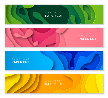 Illustration pour Set of horizontal banners in 3D paper cut style for business presentations, flyers, posters and invitations. Colorful carving art. Vector illustration. - image libre de droit