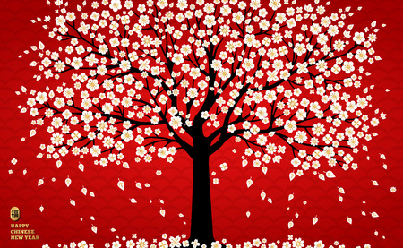 Illustration pour Cherry blossom background with white sakura tree on red for Chinese New Year design. Vector illustration. Hieroglyph translation - blessing, good luck. - image libre de droit