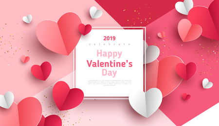 Illustration pour Valentine's day concept background. Vector illustration. 3d red and pink paper hearts with white square frame. Cute love sale banner or greeting card - image libre de droit