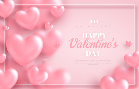 Ilustración de Pink Valentine's Day background, 3d hearts on bright backdrop. Vector illustration. Cute love banner or greeting card. Place for text - Imagen libre de derechos