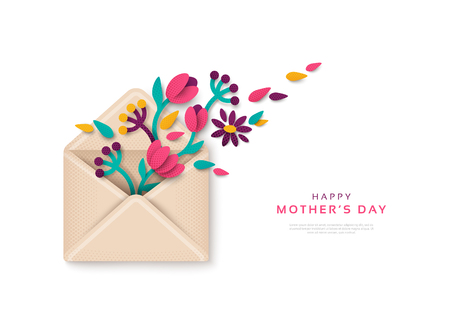 Illustration for Happy Mothers Day gift, envelope with flowers. Vector illustration. Paper cut style tulips, branches and leaves, top view. Festive greeting concept. - Royalty Free Image