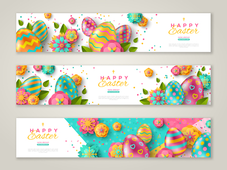 Illustration pour Easter horizontal banners with colorful ornate eggs, flowers and confetti. Vector illustration. Place for your text - image libre de droit