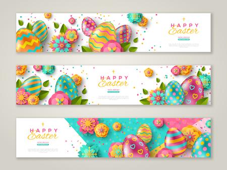 Ilustración de Easter horizontal banners with colorful ornate eggs, flowers and confetti. Vector illustration. Place for your text - Imagen libre de derechos