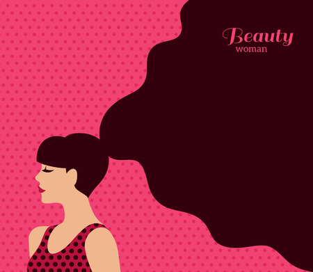 Vintage Fashion Woman With Dark Long Hair On Pink Background Vector Illustration Stylish Design For Beauty Salon Flyer Or Banner Tasmeemme Com