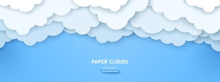 Illustration pour Cloudy paperart vector illustration. Volumetric cloudscape horizontal background. 3d overlapping paper cut clouds banner. Blue sky postcard, greeting card - image libre de droit