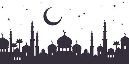 Illustration pour Arabian city black silhouette - image libre de droit