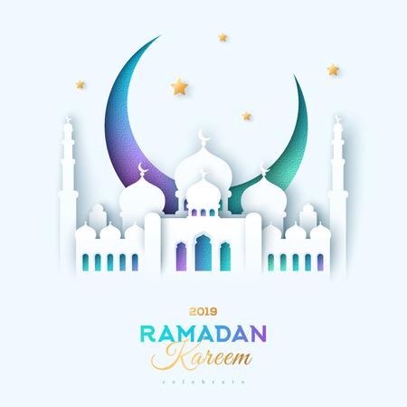 Illustration pour Paper cut mosque and moon - image libre de droit
