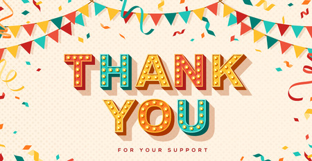Illustration for Thank you retro card - Royalty Free Image